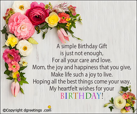 A Simple Birthday Gift Mom Birthday Wishes