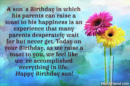 A Son's Birthday In Parents Birthday Wishes