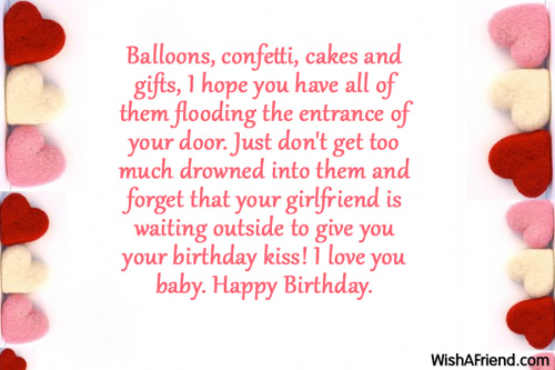 Balloons Confetti Cakes And Gifts Boyfriend Birthday Wishes