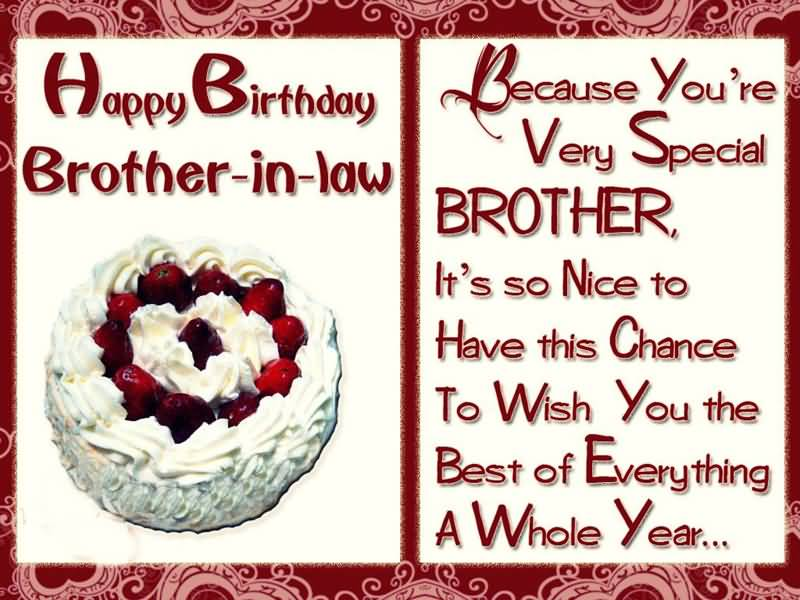 Because You're Very Special Brother In Law Birthday Wishes