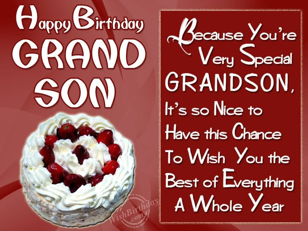 Because You're Very Special Grandson Birthday Wishes