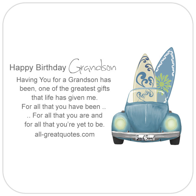 Having You For A Grandson Birthday Wishes