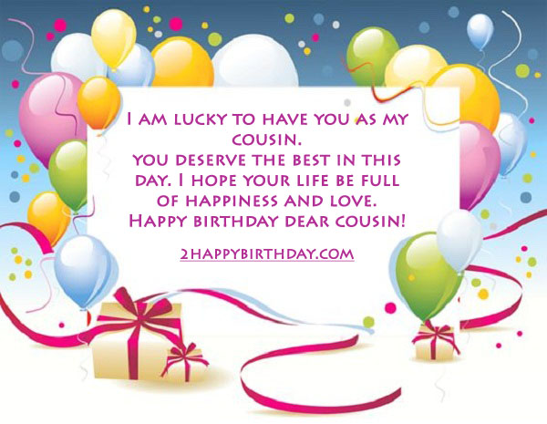 I Am Lucky To Have You Cousin Birthday Wishes