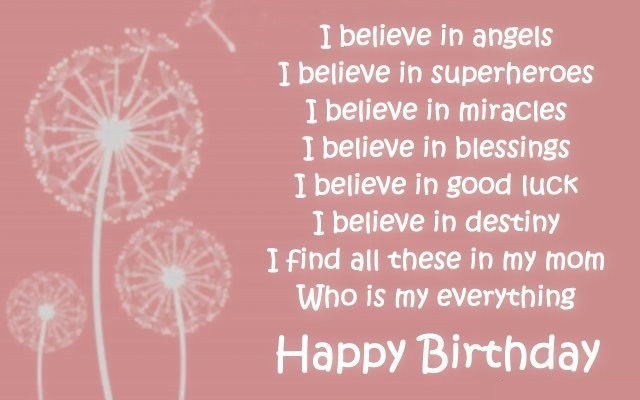 I Believe In Angels Mom Birthday Wishes