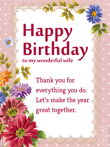 Thank You For Everything Wife Birthday Wishes