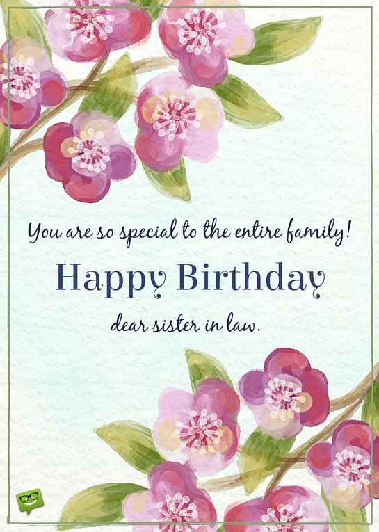 You Are So Special Sister In Law Birthday Wishes