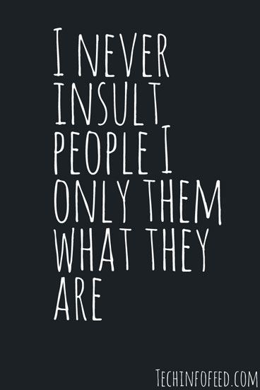 I Never Insult People Attitude Quotes