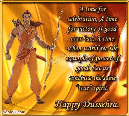 A time for celebration Happy Dussehra