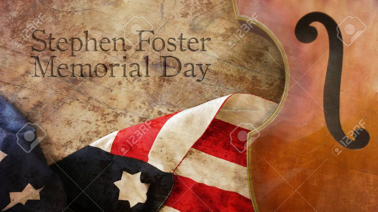 Stephen Foster Memorial Day Violin US Flag And Wood