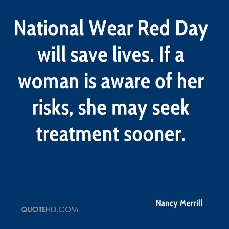 nancy merrill quote national wear red day will save lives if a woman