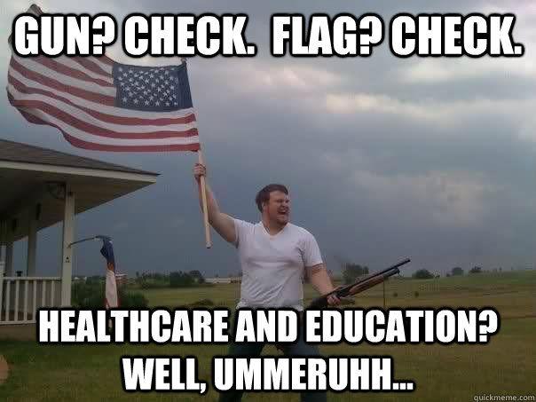 Gun Check Flag Check American Meme