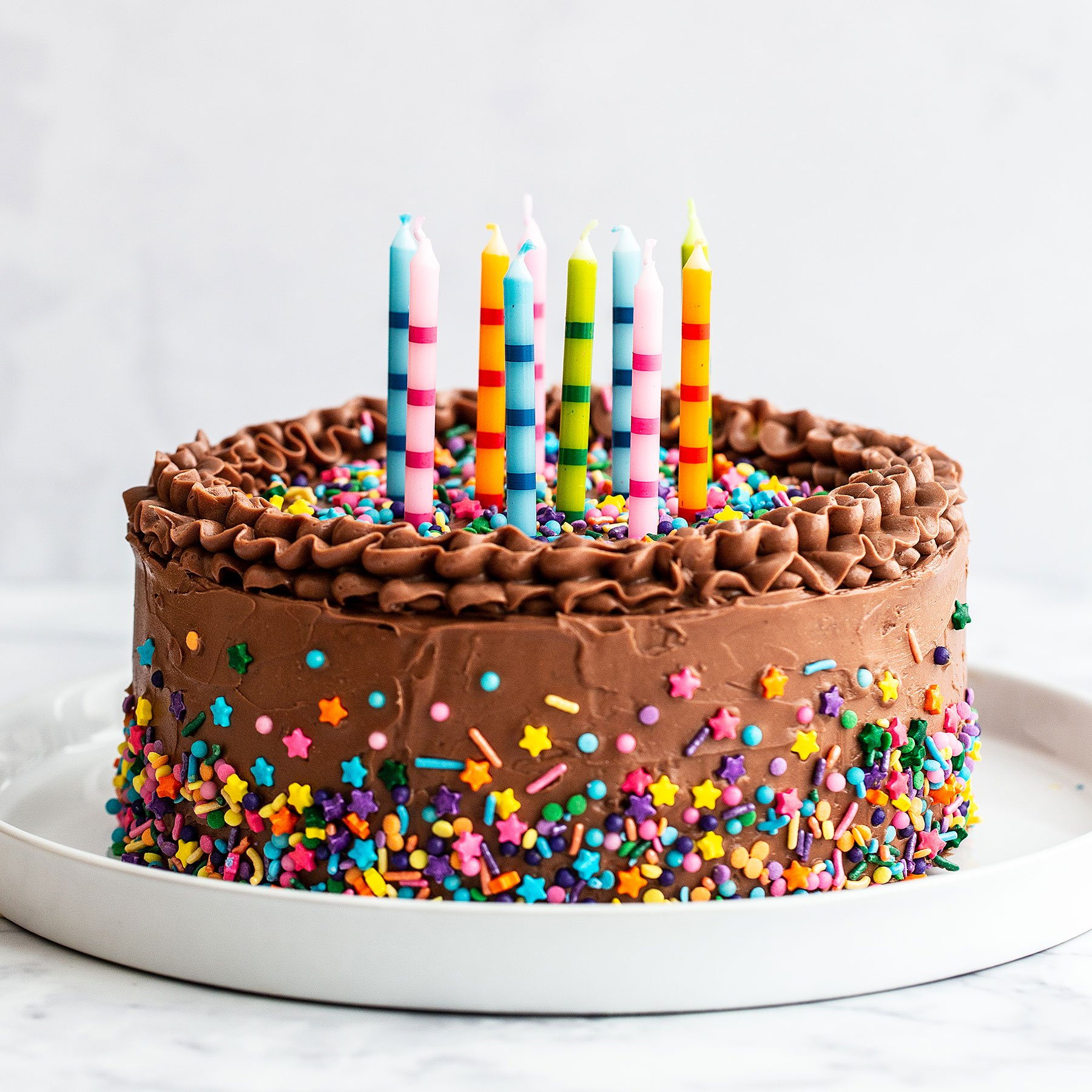 Chocolate Birthday Cake With Colorful Stars