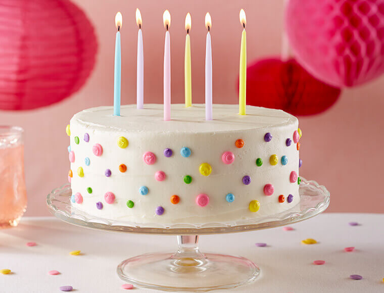 Withe Birthday Cake With Candles