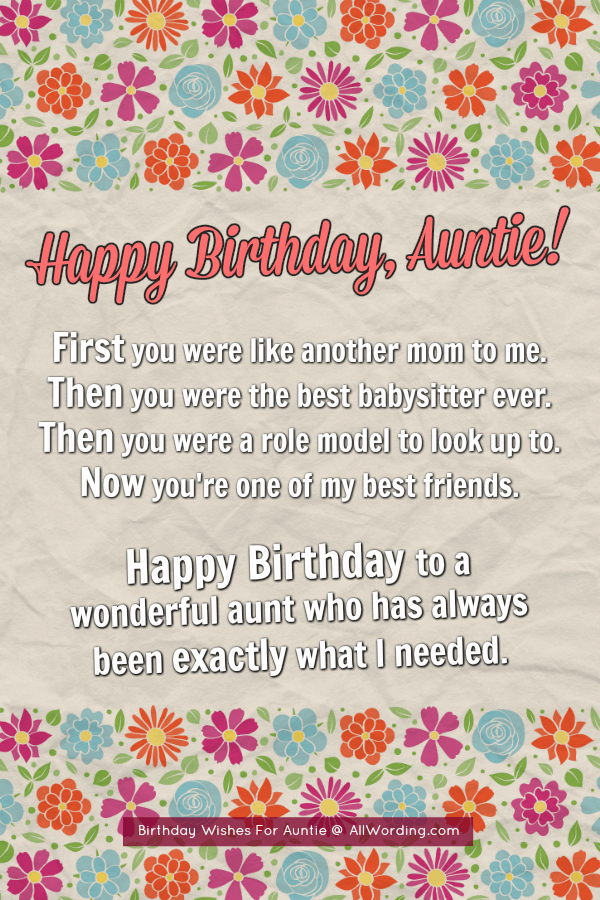 Wonderful Aunt Birthday Greetings And Wishes Quotes
